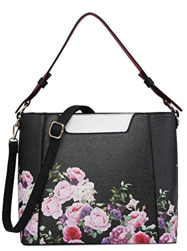 Black Bag Girly Top HandBags Roses Handle xXFUO