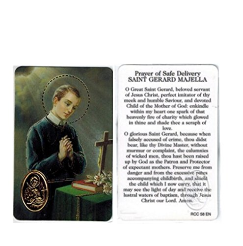 (Prayer for Safe Delivery Saint Gerard Majella Blessed Laminated Italian Prayer Card with Gold Heat Sealed Medal)