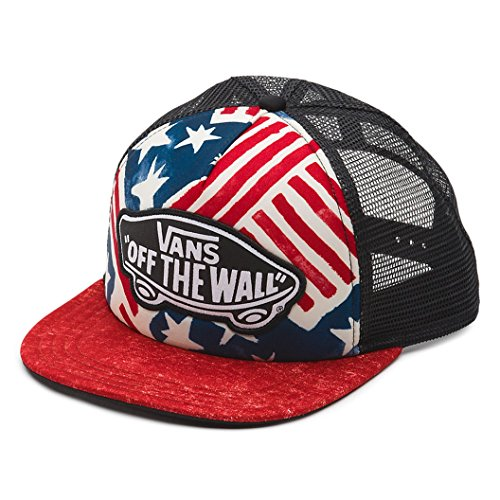 (Vans Off The Wall Women's USA Print Beach Girl Trucker Hat Cap - Red/White/Blue)