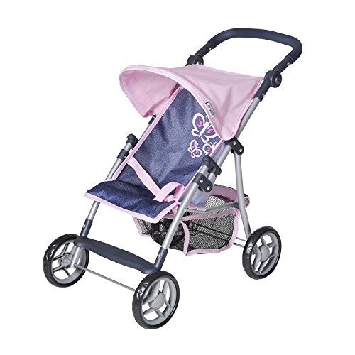 Knorrtoys 16849 - Puppenbuggy Liba - denim pink butterfly