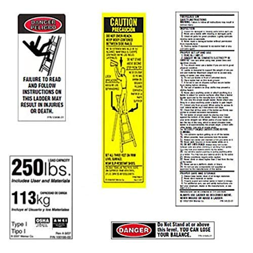 Werner 250 LB Fiberglass Step Ladder Label Kits (Pack of 6)