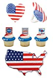 America Pop Top Cake Topper & Cupcake Pic & Ring Combo. 4th of July Cake & Cupcake Combo