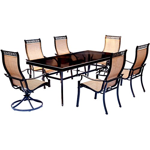 Hanover MONDN7PCSW2G Monaco 7 Piece Set with Four Stationary Dining Chairs and Two Swivel Rockers Outdoor Furniture, Tan