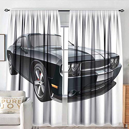 NUOMANAN Modern Blackout Curtain Cars,Black Modern Pony Car with White Racing Stripes Coupe Motorized Sport Dragster,Black Grey White,Blackout Draperies for Bedroom 54