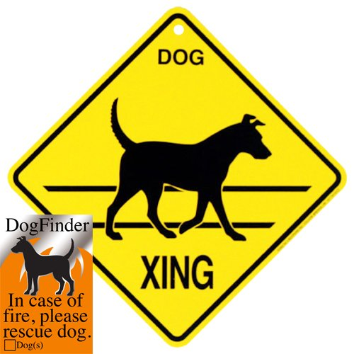 Dog Emergency Fire Sticker and Dog Xing Sign Crossing Caution Yard Sign (Dog Crossing)