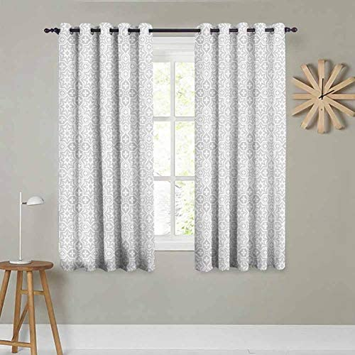 Blackout Window Curtains Kitchen Curtain Grommet Top Room Darkening Ivory Decorative Curtain 2 Panels, 72 x 72 Inch, White and Dust
