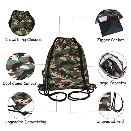 Peicees Canvas Drawstring Backpack with Zipper Pocket Gymsack Drawstring Bag Sport Sackpack Travel School Backpack for Men Women Boys and Girls(Camo) by Peicees (Image #1)