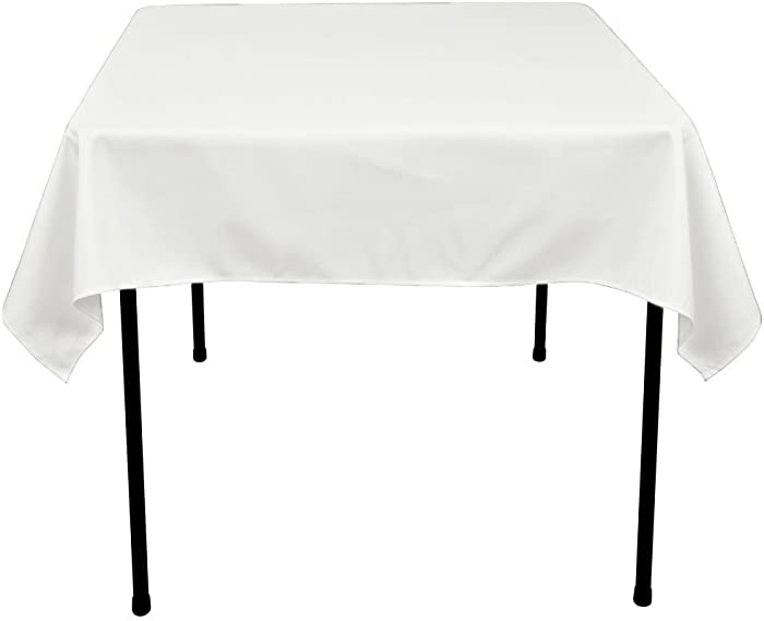 GFCC 54 x 54-Inch Seamless White Rectangular Polyester Tablecloth for Wedding Party Decorations Square Table Cloth Cover