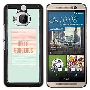 LECELL--Funda protectora / Cubierta / Piel For HTC One M9Plus M9+ M9 Plus -- hola preciosa verde azulado cartel verano --