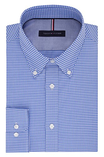 Tommy Hilfiger Men's Non Iron Slim Fit Gingham Buttondown Collar Dress Shirt, English Blue, 18.5