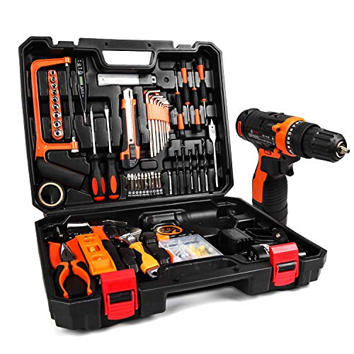 jar-owl 55 Piece Tool Kits 16.8V Cordless Drill Lithium Ion with Tool Set Combination Package and Plastic Toolbox Storage Case