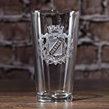 Engraved Personalized Crest Pint Pub Glass - One Glass - (crest)