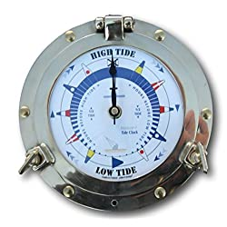 Thorness Traditional authentic porthole Tide Clock with hinged bezel, solid brass