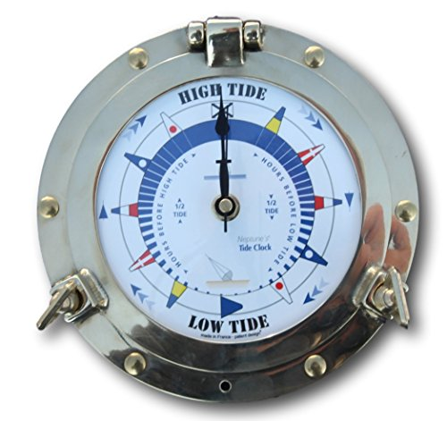 Thorness Traditional authentic porthole Tide Clock with hinged bezel, solid (Function Porthole Clock)