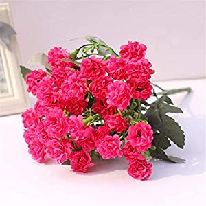Artificial Flowers, Artificial Carnation Bunch 36 Buds, Full Bloom Artificial Silk Real Touch Flowers Home Decor, Wedding, Parties, Offices, Restaurant (Rose-red) 94