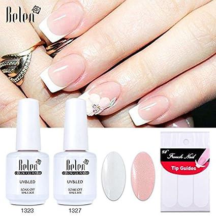 Generic Belen UV Gel Nail Polish Set Pink White Color Coat Free Tip Guides