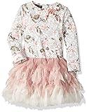 Kate Mack Girls' Toddler Rose Crush Printed Knit Dress with Netting Skirt, Multi 2T