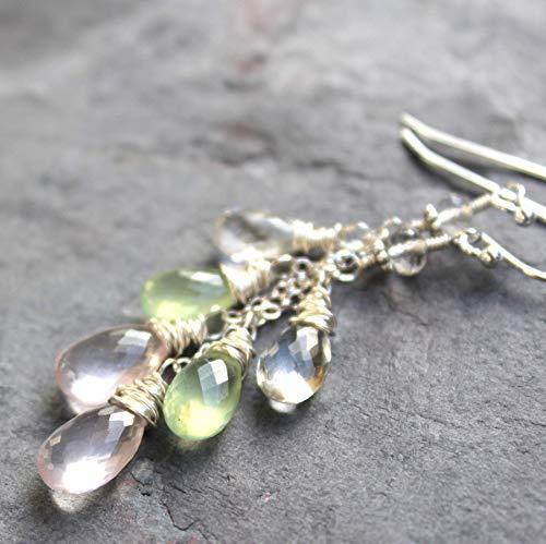 Pastel Gemstone Earrings Sterling Silver Rose Quartz Prehnite Pink Green 2.3 Inch