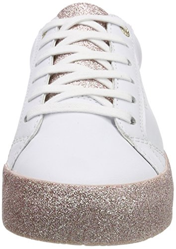 Tommy pink Top Women's Hilfiger Sneakers Sparkle Glitter Outsole Low White 100 White 4xr4gqHw