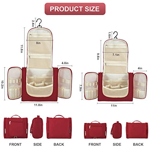 Hanging Toiletry Bag for Women & Men, OMYSTYLE Portable Travel Kit Bag, Waterproof Bathroom Toiletries Organizer with Hook for Makeup, Cosmetic, Shaving, Shampoo (Travel Size, Red)