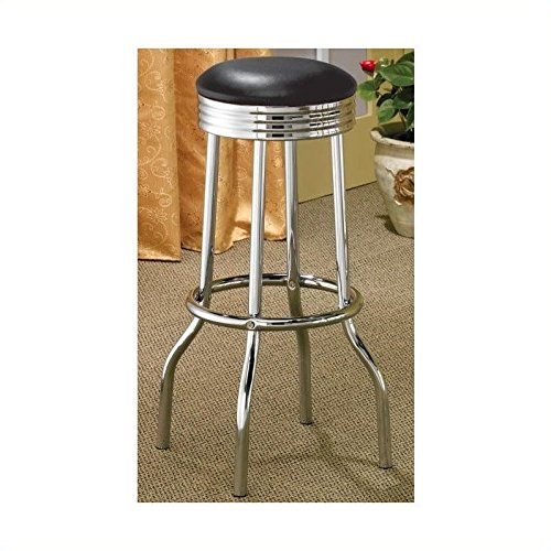 Coaster Furniture Bar Stool (Set of 2)-Silver/Black