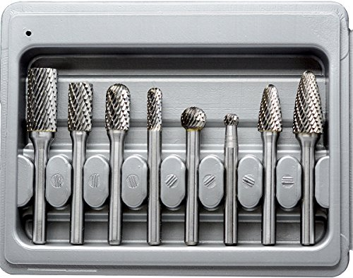 (KOTVTM 8Pcs Double Cut Solid Carbide Rotary Burr Set 1/4 Inch 6mm Shank Carbide Burrs Fits Grinder Drill,Die Grinder,Cutting Burs,Metal Polishing )