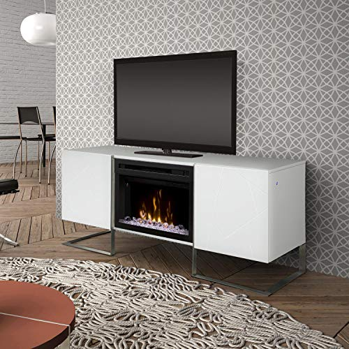 (DIMPLEX Chase Media Console Fireplace with Glass Ember Bed Gloss White/1500)