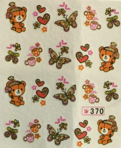 Nail Art Water Decals Glitter Teddy Bear Butterflies Tea Cups Hearts SY370