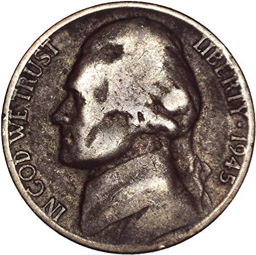 Gem Ms63 - 1945 P Wartime Silver Jefferson Nickel 5C Very Fine