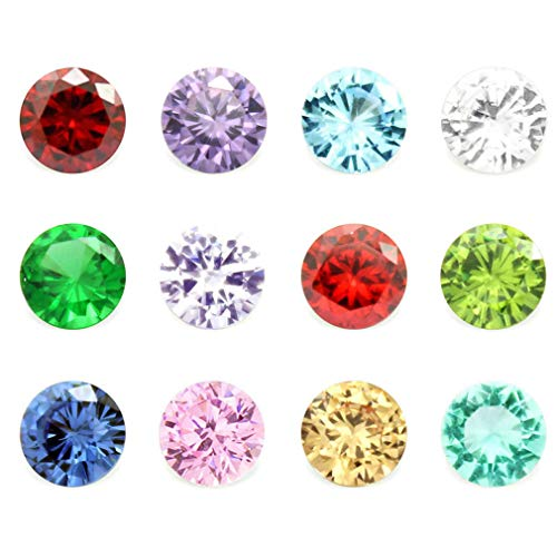 12 Month 24PCS Crystal Glass Zircon Round 5MM Birthstones Floating Charms for Living Memory Locket Necklace Pendant ()