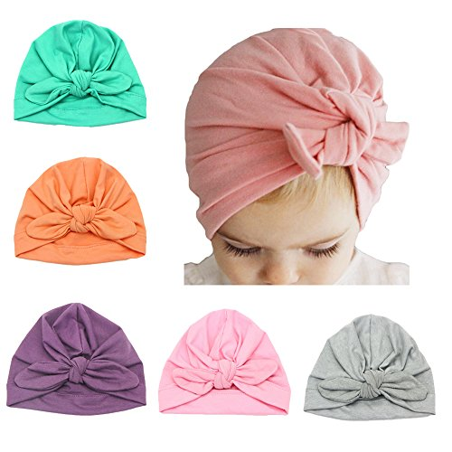 DANMY Baby Girl Hat with Rabbit Ears Toddlers Soft Turban Knot Bow Cap (Five colors (5pcs))
