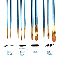 Heartybay 10Pieces Round Pointed Tip Nylon Hair Brush Set, Blue