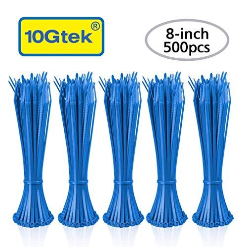 Zip Ties (500pcs) Self-Locking 8 Inch Nylon Cable Ties in Blue