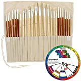 24pc Oil & Acrylic Paint Long Handle Artist Paint Brush Set with FREE Canvas ...