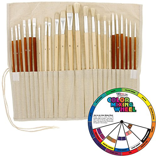 24pc Oil & Acrylic Paint Long Handle Artist Paint Brush Set