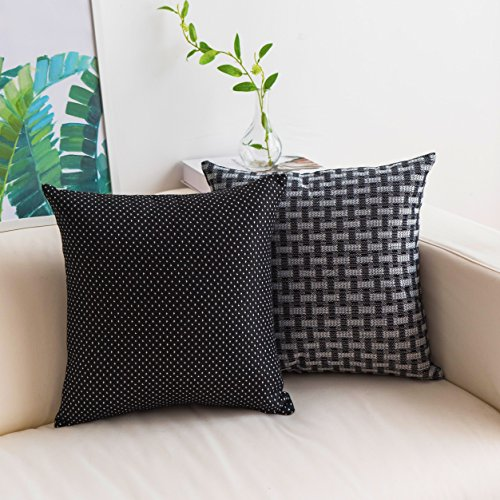 HOME BRILLIANT 2 Pack Halloween Farmhouse Checker Plaids Linen Blend Throw Pillow Covers Square Decorative Cushion Covers for Sofa Living Room Car Office, 18x18, Black White