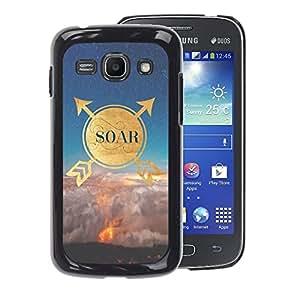 A-type Arte & diseño plástico duro Fundas Cover Cubre Hard Case Cover para Samsung Galaxy Ace 3 (Quote Motivational Gold Nature Sky)