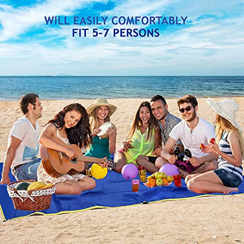 Beach Blanket, Sandproof Beach Mat, Waterproof Foldable Picnic Blankets - 87''×95'' Oversized Lightweight Outdoor Picnic Mat, for 5-7 Adults for Beach Party, Travel, Camping, Hiking, Music Festivals