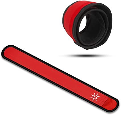 RED-2-Pack LED Slap Armbands! High Quality! ULTRA VISIBILITY for SAFETY//FUN