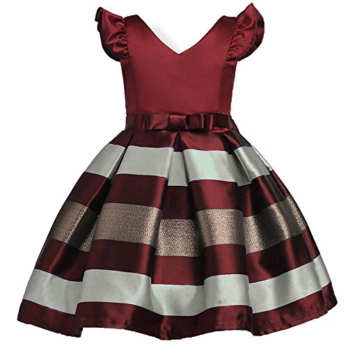 AOWEER Girls Dresses Tops Stripe Party Clothes Dress Vintage Elegant Beach Sundress # Wine Red 130