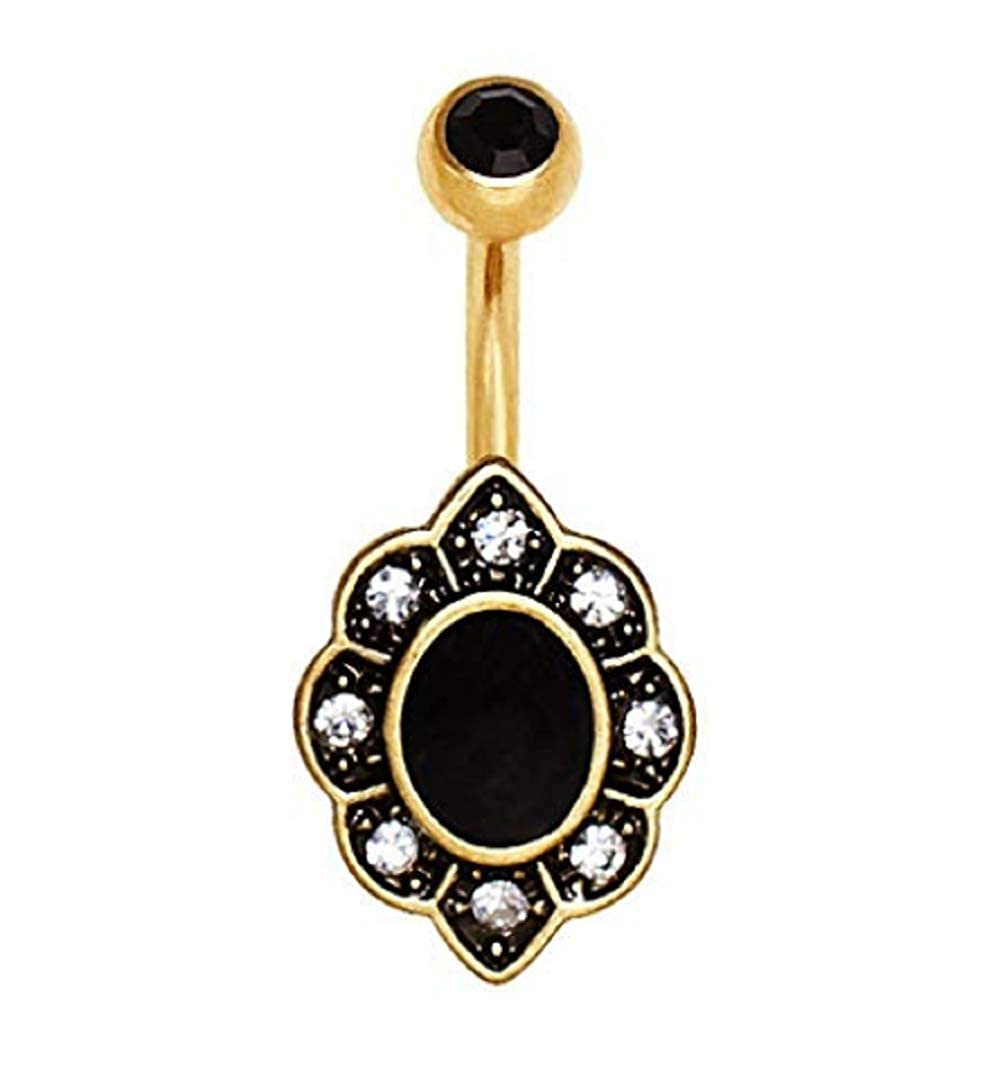 Sold by Piece Freedom Fashion Gold Plated Elegant Black Floral Navel Ring