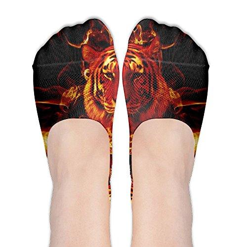 Womens Flaming Tiger No Show Socks Casual Low Cut Invisible Elastic Socks