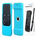 Remote Protective Case for Apple TV 4th Remote Controller, Hapurs Anti-Slip Silicone Light Weight Cover Case with a Lanyard for Apple TV 4th Generation Siri Remote Controller-Blue