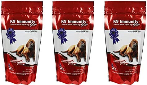 Aloha Medicinals – K9 Immunity Plus – Potent Immune Booster For Dogs Over 70 Pounds – Certified Organic Mushroom Enhanced Supplement – Veterinarian Recommended Dog Health Supplement -90 Chews 3 pack