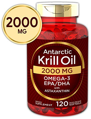 Antarctic Krill Oil 2000 mg 120 Softgels | Omega-3 EPA, DHA, with Astaxanthin Supplement Sourced from Red Krill | Maximum Strength | Laboratory Tested (Best Krill Oil Supplement)