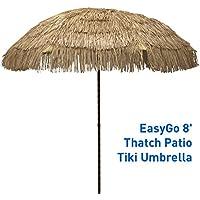EasyGo - 8' Thatch Patio Tiki Umbrella – Tropical Palapa Raffia Tiki Hut Hawaiian Hula Beach Umbrella