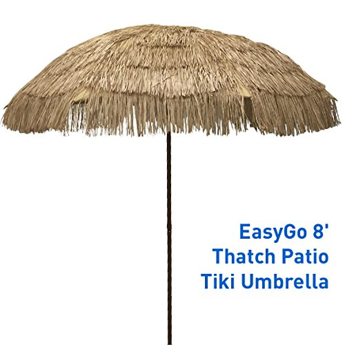 EasyGo - 8' Thatch Patio Tiki Umbrella – Tropical Palapa Raffia Tiki Hut Hawaiian Hula Beach - By Hut The Beach