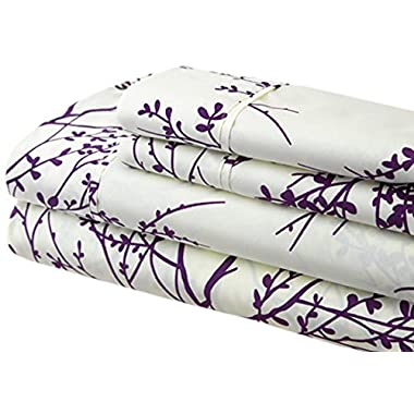 Spirit Linen Foliage Collection Printed Luxurious Microfiber Sheet Set, King, Ivory/Purple