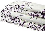 Spirit Linen Foliage Collection Printed Luxurious Microfiber Sheet Set, King, Ivory/Purple
