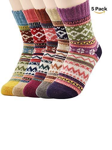 Womens Vintage Soft Warm Winter Crew Socks Funky Cozy Crew Wool Thick Comfort Socks 5-Pack